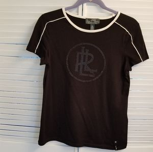 Lauren RL black top with shimmery logo